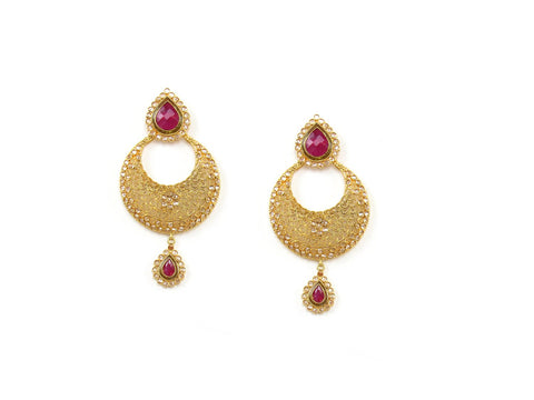 25.78g 22Kt Gold Antique Earrings India Jewellery