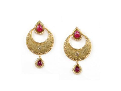 35.98g 22Kt Gold Antique Earrings India Jewellery
