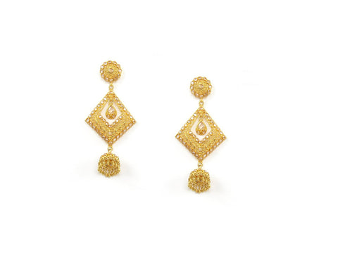 26.45g 22Kt Gold Antique Earrings India Jewellery