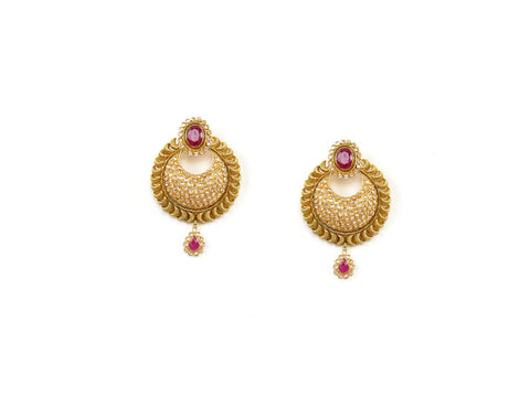 24.51g 22Kt Gold Antique Earrings India Jewellery