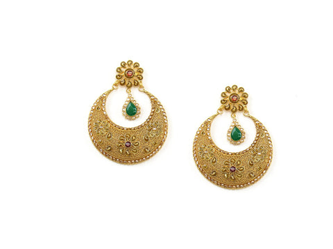 34.02g 22Kt Gold Antique Earrings India Jewellery