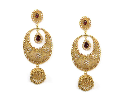 35.43g 22Kt Gold Antique Earrings India Jewellery