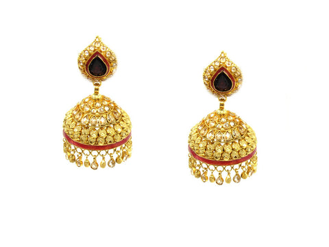 30.14g 22Kt Gold Antique Earrings India Jewellery
