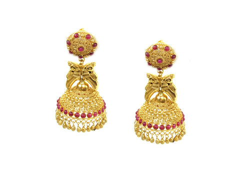 27.32g 22Kt Gold Antique Earrings India Jewellery