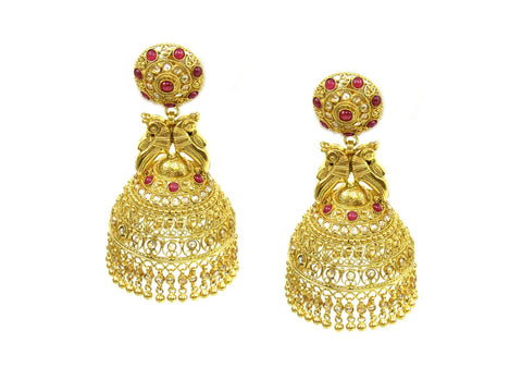 40.90g 22Kt Gold Antique Earrings India Jewellery