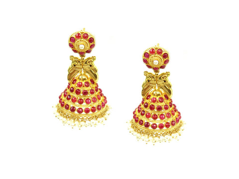 33.10g 22Kt Gold Antique Earrings India Jewellery
