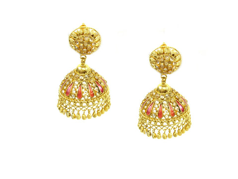 27.84g 22Kt Gold Antique Earrings India Jewellery