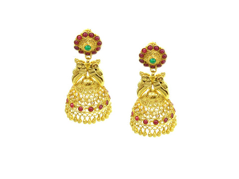 26.58g 22Kt Gold Antique Earrings India Jewellery