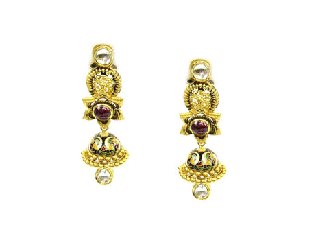 27.20g 22Kt Gold Antique Earrings India Jewellery