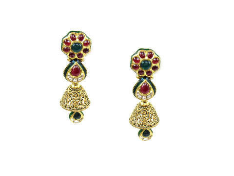 32.60g 22Kt Gold Antique Earrings India Jewellery