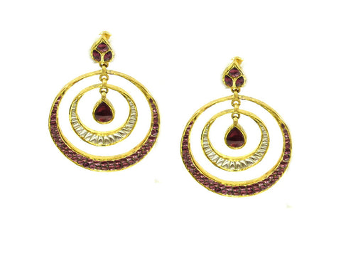52.10g 22Kt Gold Antique Earrings India Jewellery
