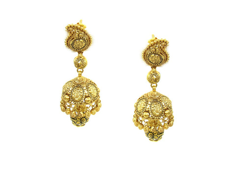 20.10g 22Kt Gold Antique Earrings India Jewellery