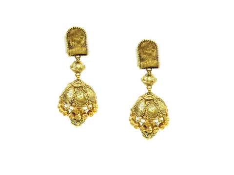 27.00g 22Kt Gold Antique Earrings India Jewellery