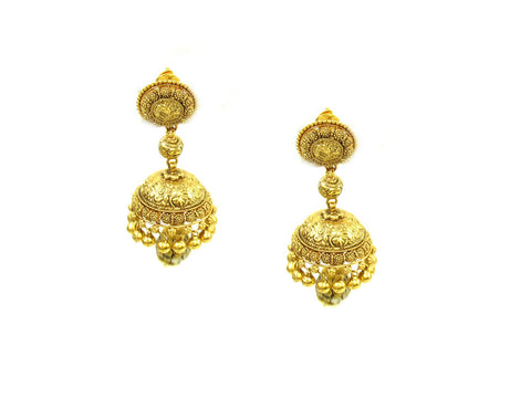 23.60g 22Kt Gold Antique Earrings India Jewellery