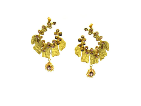 16.00g 22Kt Gold Antique Earrings India Jewellery