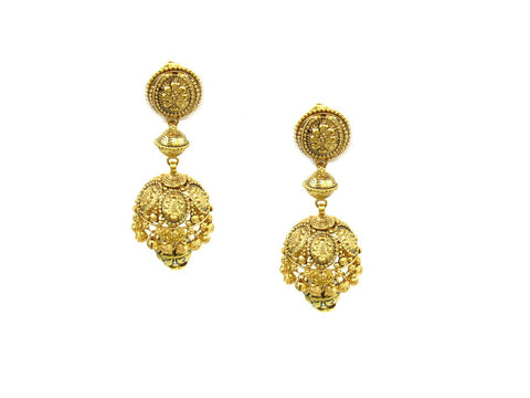 21.55g 22Kt Gold Antique Earrings India Jewellery