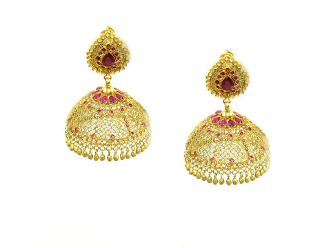 49.80g 22Kt Gold Antique Earrings India Jewellery