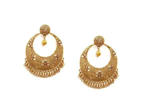 35.70g 22Kt Gold Antique Earrings - 2051