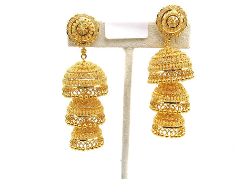 37.90g 22Kt Gold Jumki Earrings - 2145