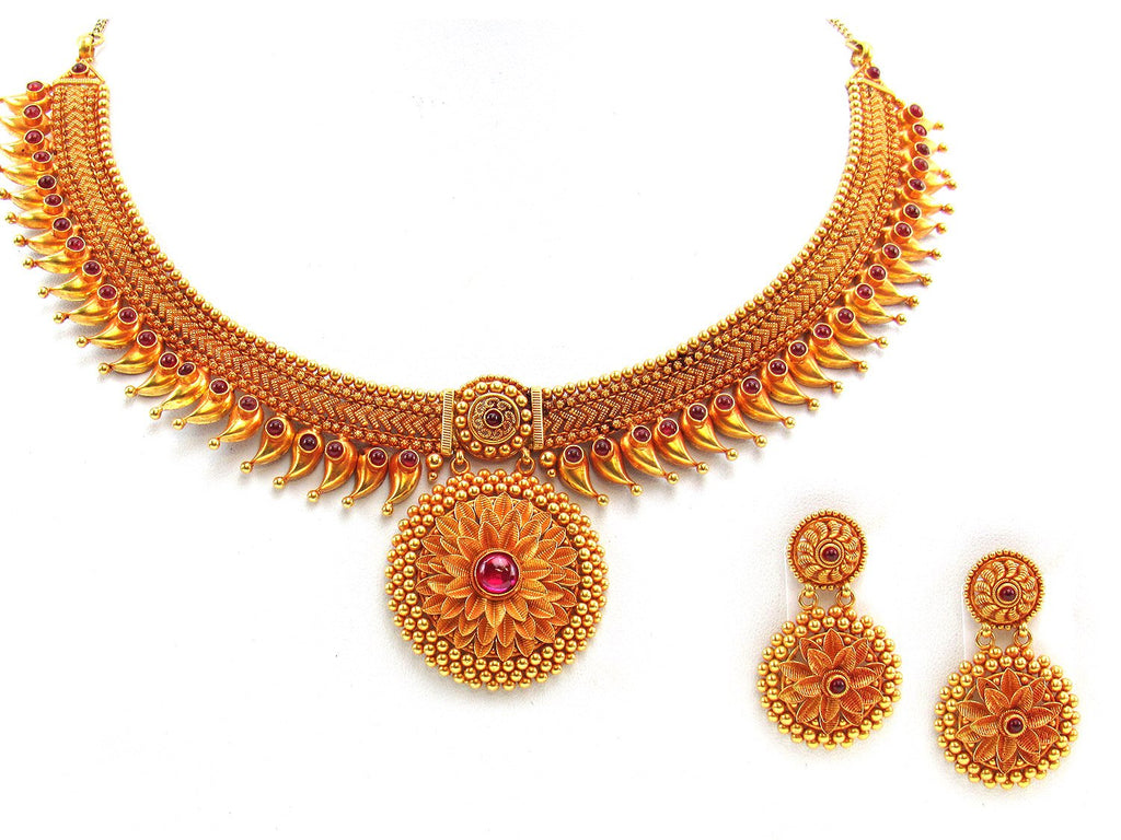 54.60g 22Kt Gold Antique Necklace Set