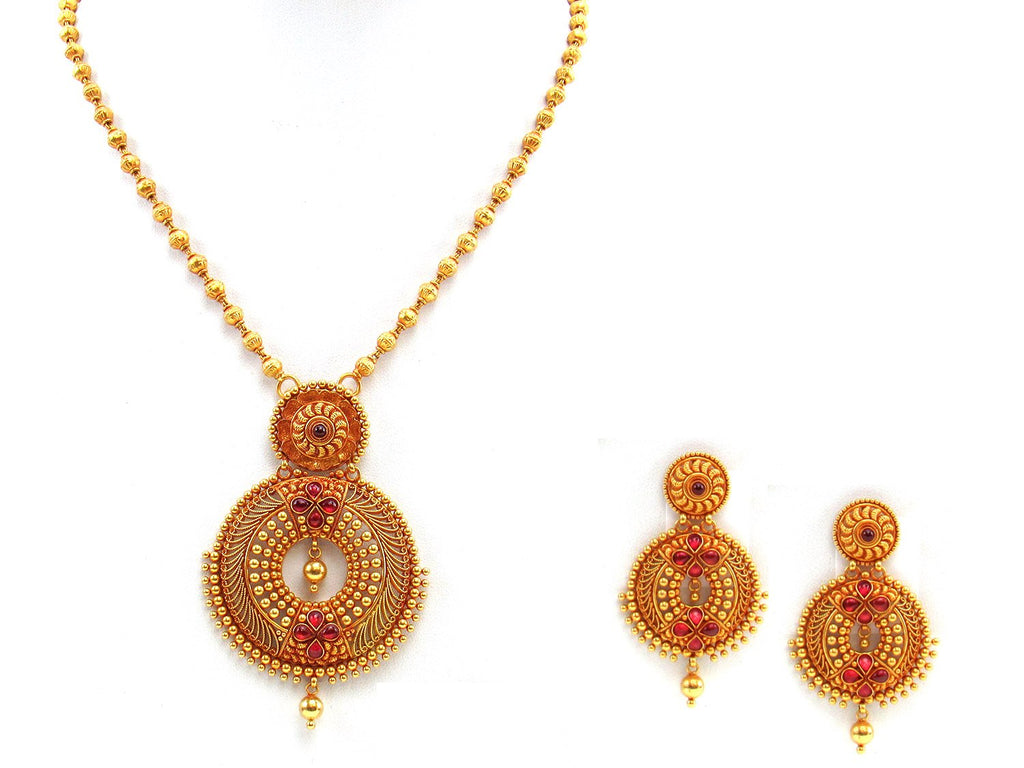 40.80g 22Kt Gold Antique Necklace Set