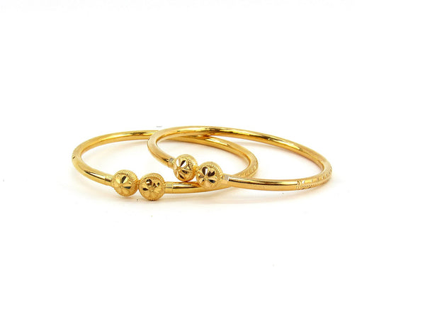 21.90g 22Kt Gold Stackable Bangle Set (Sz: 5)