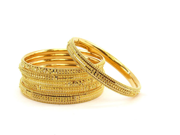 82.65g 22Kt Gold Stackable Bangle Set (Sz: 6)
