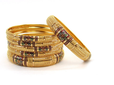 108.65g 22Kt Gold Stackable Bangle Set (Sz: 6)