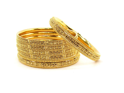 104.40g 22Kt Gold Stackable Bangle Set (Sz: 8)