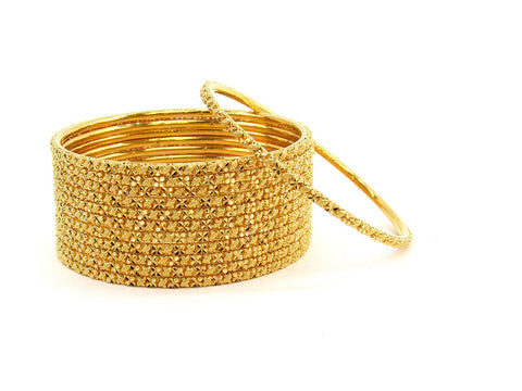 122.00g 22Kt Gold Stackable Bangle Set (Sz: 6)