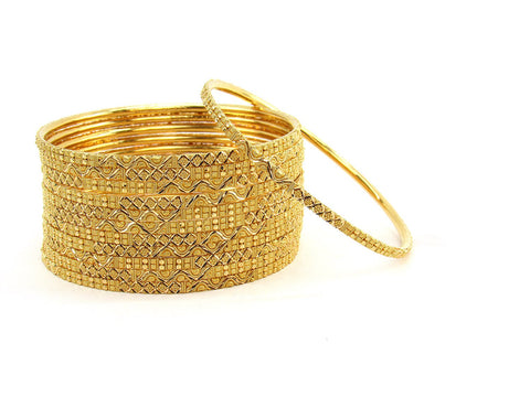 114.80g 22Kt Gold Stackable Bangle Set (Sz: 6)