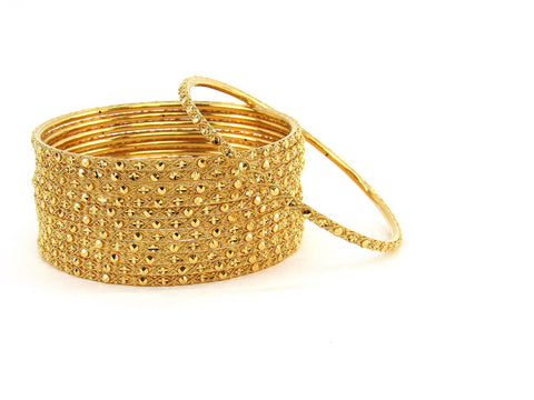 112.25g 22Kt Gold Stackable Bangle Set (Sz: 8)