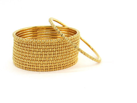 110.00g 22Kt Gold Stackable Bangle Set (Sz: 6)