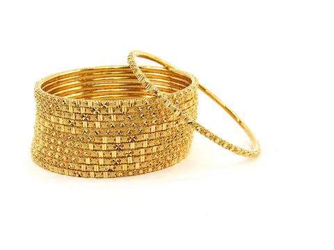 109.00g 22Kt Gold Stackable Bangle Set (Sz: 6)