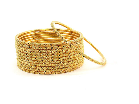 111.20g 22Kt Gold Stackable Bangle Set (Sz: 6)