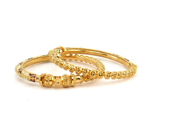 57.40g 22Kt Gold Pipe Bangle Set (Sz: 5)