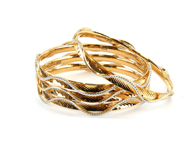 54.88g 22Kt Gold Lazer Bangle Set (Sz: 4)