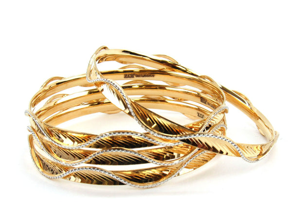 60.27g 22Kt Gold Lazer Bangle Set (Sz: 8)