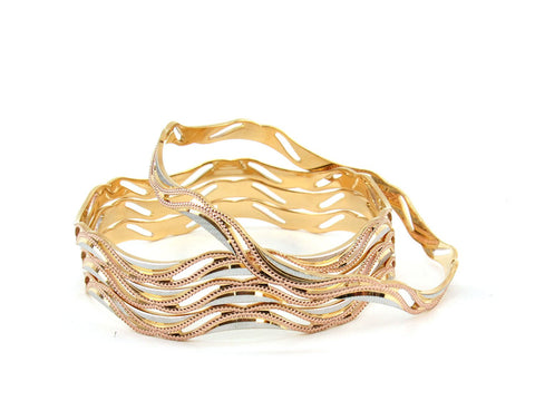 59.27g 22Kt Gold Lazer Bangle Set (Sz: 6)