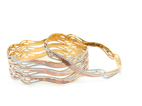 58.82g 22Kt Gold Lazer Bangle Set (Sz: 6)