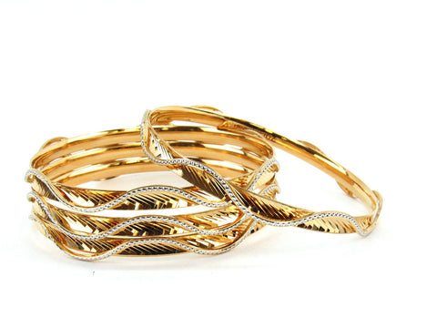 57.63g 22Kt Gold Lazer Bangle Set (Sz: 6)