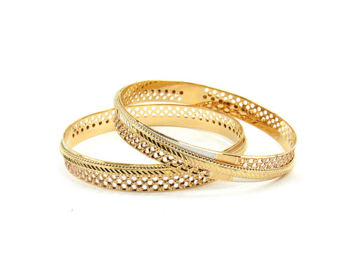 44.32g 22Kt Gold Lazer Bangle Set (Sz: 6)