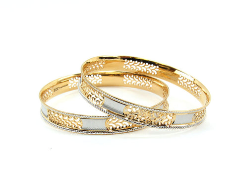 41.46g 22Kt Gold Lazer Bangle Set (Sz: 6)