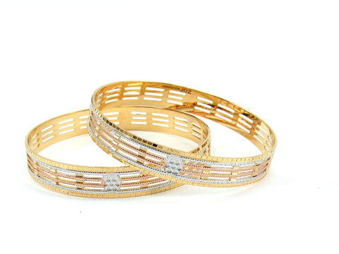 47.65g 22Kt Gold Lazer Bangle Set (Sz: 6)