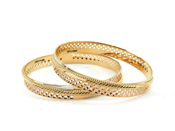 50.46g 22Kt Gold Lazer Bangle Set (Sz: 8)