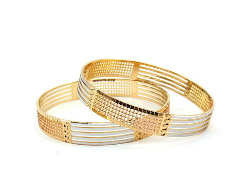 48.52g 22Kt Gold Lazer Bangle Set (Sz: 6)
