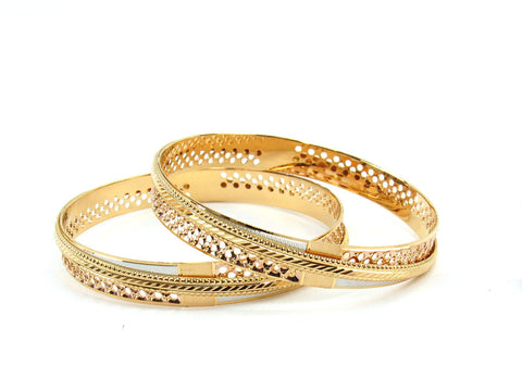 46.43g 22Kt Gold Lazer Bangle Set (Sz: 6)