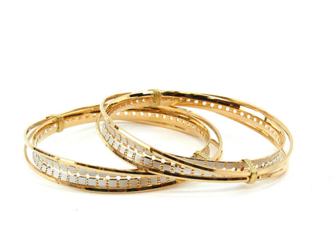 52.76g 22Kt Gold Lazer Bangle Set (Sz: 6)