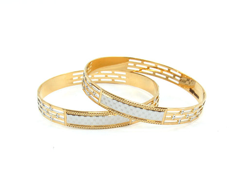 42.51g 22Kt Gold Lazer Bangle Set (Sz: 6)