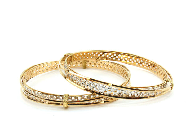 56.14g 22Kt Gold Lazer Bangle Set (Sz: 8)